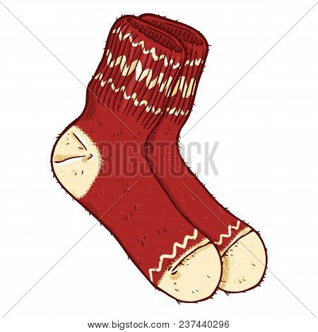 Vector Cartoon Red Woolen Socks With White Ornament
