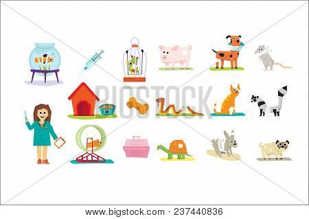 Professional Vet Doctor And Domestic Animals Set, Veterinary Care Vector Illustrations Isolated On A