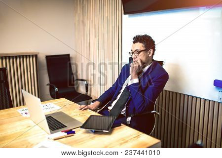 Man Successful Business Worker Having Video Conference Via Portable Laptop Computer, Sitting In Offi