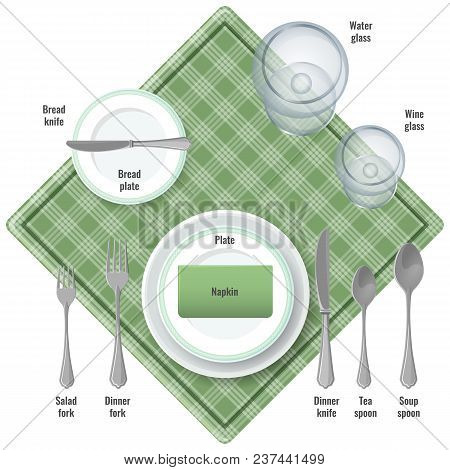 Table Etiquette Instructions About Use Of Cutlery. Silverware For All Kind Of Dishes. Checkered Napk