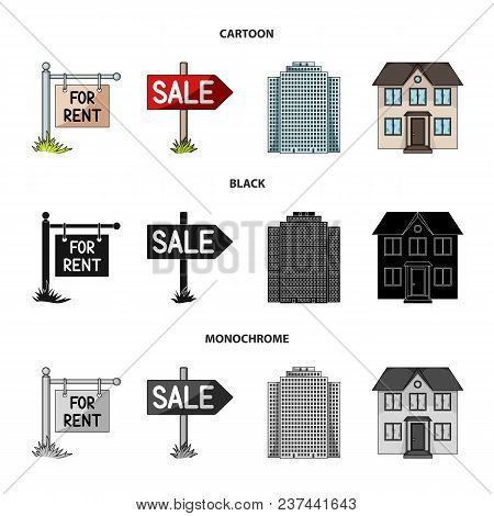 Signs Of Sale And Rent, A Skyscraper, A Two-story Cottage.realtor Set Collection Icons In Cartoon, B