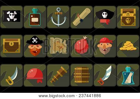 Pirate Icons Set, Ancient Travel And Adventure Devices, Treasure Hunting, Details For Computers Game