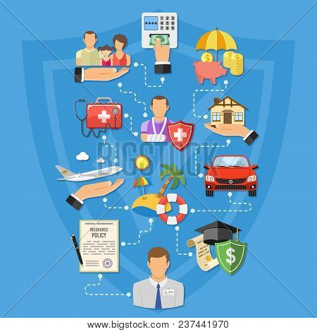 Insurance Services Infographics In Flat Style Icons Such As House, Car, Medical, Family And Business