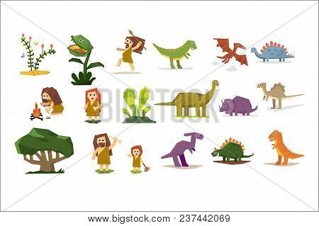 Prehistoric Stone Age Elements Set, Primitive People, Dinosaurs, Plants Cartoon Vector Illustrations