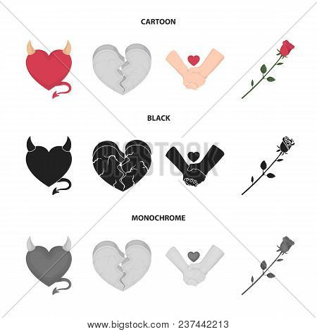 Evil Heart, Broken Heart, Friendship, Rose. Romantic Set Collection Icons In Cartoon, Black, Monochr