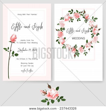 Save The Date Card, Wedding Invitation, Greeting Card With Beautiful Flowers, Green Leaves Of Linden