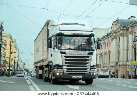 St. Petersburg, Russia - April, 17, 2018: image of Truck on a highway