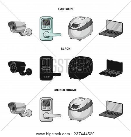 Home Appliances And Equipment Cartoon, Black, Monochrome Icons In Set Collection For Design.modern H