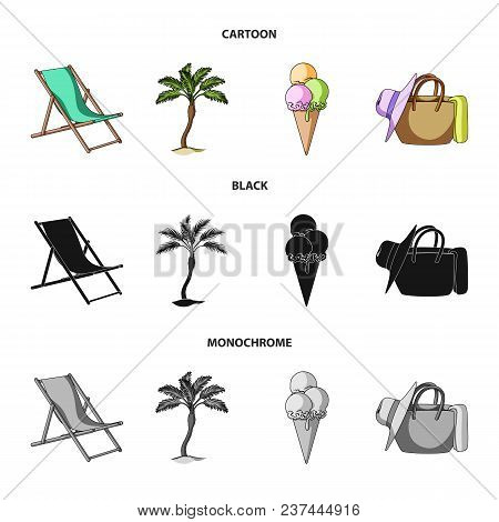 Beach, Palm Tree, Ice Cream.summer Vacation Set Collection Icons In Cartoon, Black, Monochrome Style