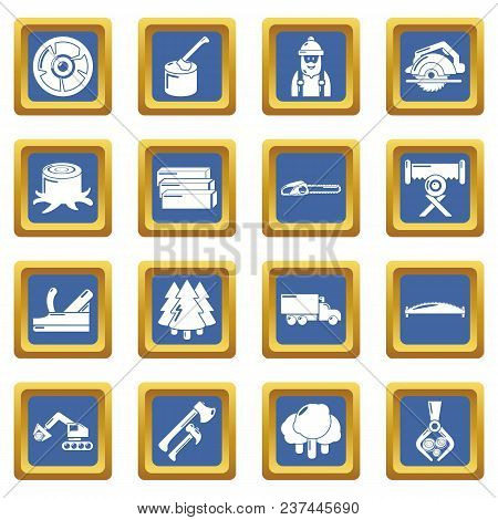 Timber Industry Icons Set Vector Blue Square Isolated On White Background