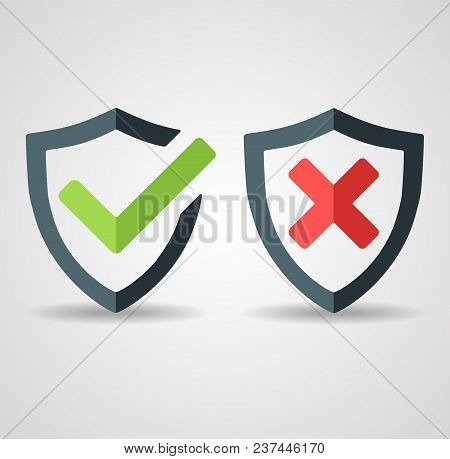 Tick Mark Approved Icon Vector On White Background. Denied Disapproved Sign. Shield With Green Check