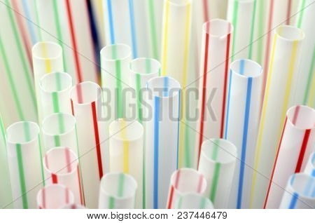 Colored Plastic Straws Close Up For Plastic Background