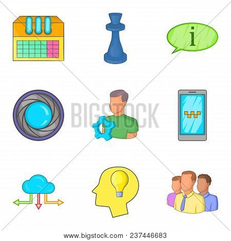 Progressive Annex Icons Set. Cartoon Set Of 9 Progressive Annex Vector Icons For Web Isolated On Whi