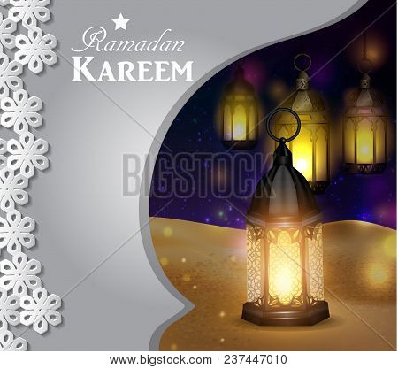 Vector Illustration Magic Glass Lights On Dark Background In Paper Window With Arabic Swirls In The