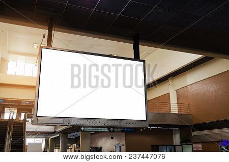 Big Lcd Tv Screen, Blank Advertising Billboard Or Light Box Showcase At Airport Or Subway Train Stat