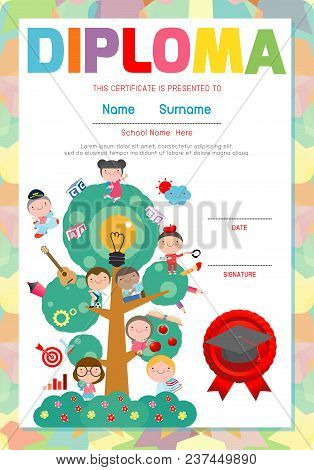 Certificate Kids Diploma, Kindergarten Template Layout Space Background Frame Design Vector. Diploma