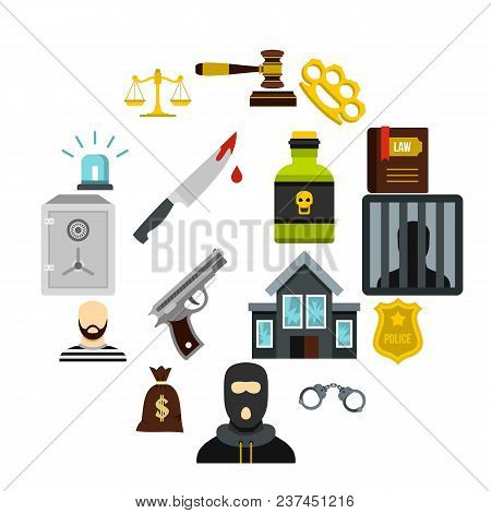 Crime And Punishment Icons Set In Flat Style. Law And Order Set Collection Vector Illustration