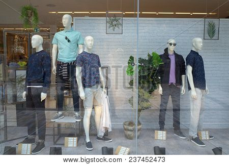 Bracknell, England - April 23, 2018: Window Display Of Spring Fashion Clothing For Men In The Next R