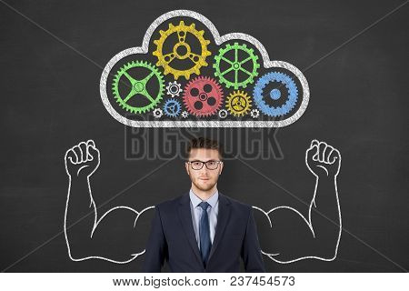 Cloud Computing Concepts Over Human Head On Chalkboard Background