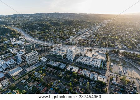 Los Angeles, California, USA - April 18, 2018:  Aerial view of San Diego 405 Freeway and Ventura Blvd in the Sherman Oaks area of the San Fernando Valley.