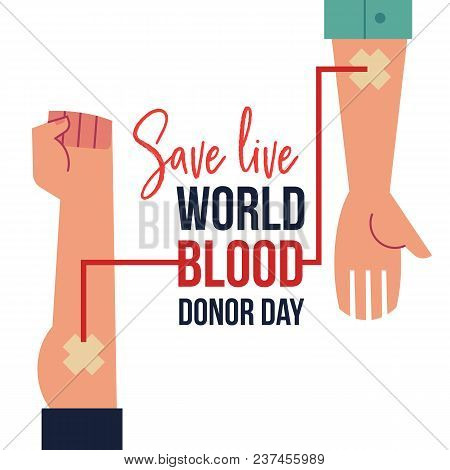 Blood Donation Day Banner With Hands During Blood Transfusion And Sign Isolated On White Background.