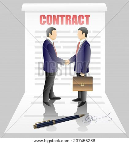 Business Contract Concept Vector Illustration. Business Partners Two Businessmen Shaking Hands After