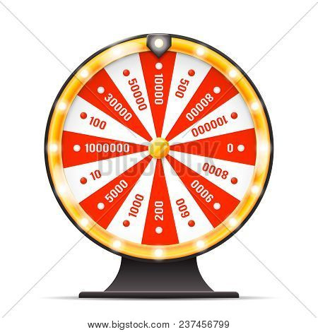 Luck Wortine Weel Turning Lottery Layerd Isolated 3d Vector Illustration
