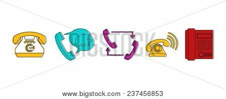 Telephone Icon Set. Color Outline Set Of Telephone Vector Icons For Web Design Isolated On White Bac