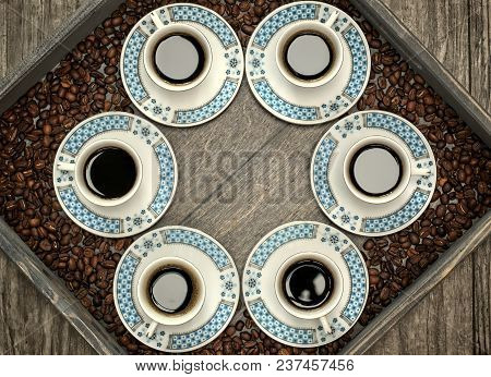 Cups With Coffee,pattern And Design Concept-six Cups Of Coffee On A Wooden Tray.