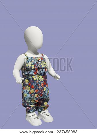 Full-length Child Mannequin Dressed In Beautiful Clothes, Isolated. No Brand Names Or Copyright Obje