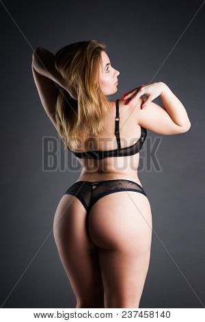 Plus Size Sexy Model In Lingerie, Fat Woman On Gray Studio Background, Overweight Female Body, Full
