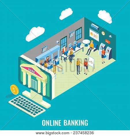 Online Banking Vector Flat 3d Isometric Illustration. Desktop Computer With Bank Building, Bank Empl