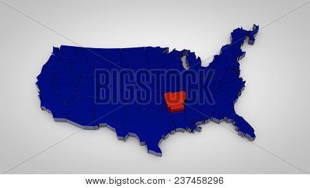 Usa Map With Arkansas Map Highlited 3d Render
