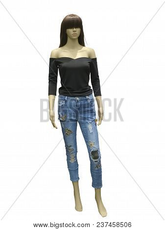 Full-length Female Mannequin Dressed In Fashionable Clothes, Isolated On White Background. No Brand