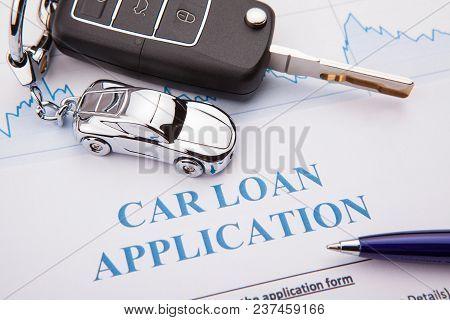 Car Loan Application Form Lay Down On Desk
