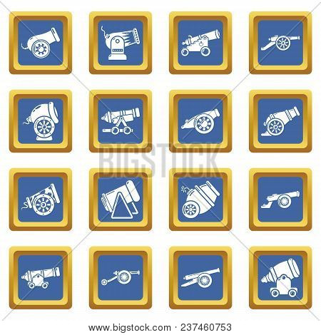 Cannon Retro Icons Set Vector Blue Square Isolated On White Background