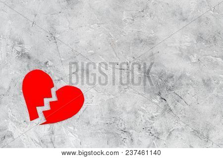 Divorce Concept. Sign Of Divorce. Broken Heart On Grey Background Top View.