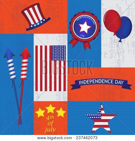 Set Of Usa Symbols And Design Elements For Independence Day. White, Red, Blue Colors. Vector Illustr