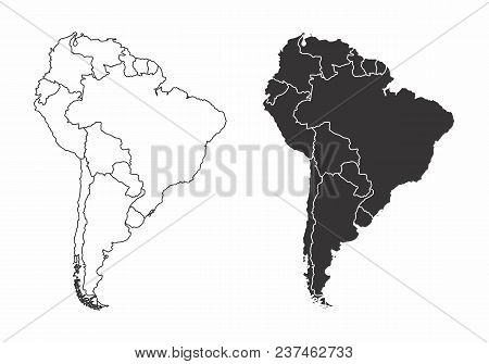 Simplified Maps Of The South America With Countries Boundaries. Black And White Outlines.