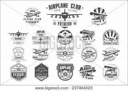 Collection Of Vintage Airplane Logos. Original Monochrome Emblems With Silhouettes Of Aircrafts. Typ