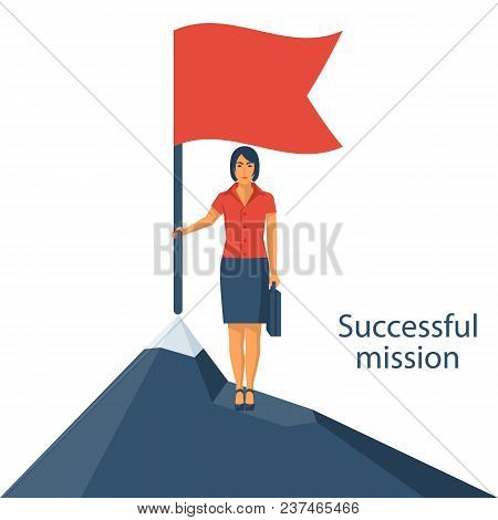 Successfull Mission. Businesswoman Standing With Red Flag On Mountain Peak. Goal Achievement. Put Fl