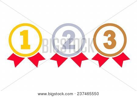 1st, 2nd, 3rd Places. Gold, Silver, Bronze Medal Silhouette. First, Second, Third Place. Award Winne