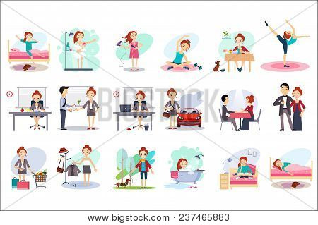 Active Day Of Happy Woman. Daily Routine. Cartoon Character Of Young Pretty Girl In Different Situat