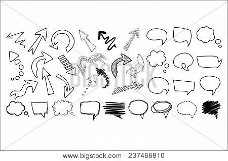 Comic Collection Of Arrows And Speech Bubbles Of Various Shapes. Cartoon Dialog Clouds With Space Fo