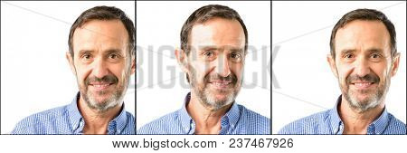 Middle age handsome man closeup confident and happy with a big natural smile laughing