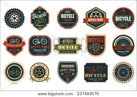 Collection Of Vintage Bicycle Logos. Extreme Cycling Sport. Stylish Typographic Design For Biking Cl