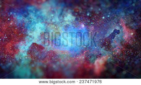 Colored Nebula And Open Cluster Of Stars In The Universe. Science Fiction Art With Small Dof. Elemen