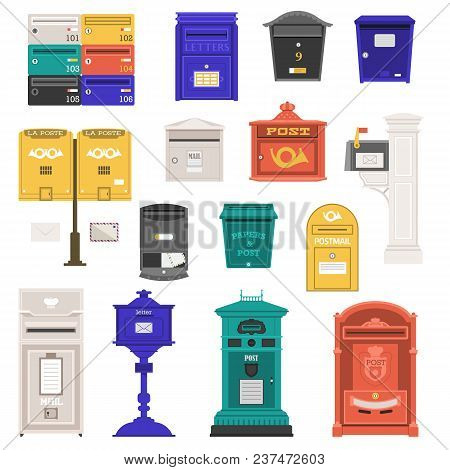 Retro Street Postbox Collection With Vertical Pillar Letter-box, Public Wall Letterboxes And Mail Po