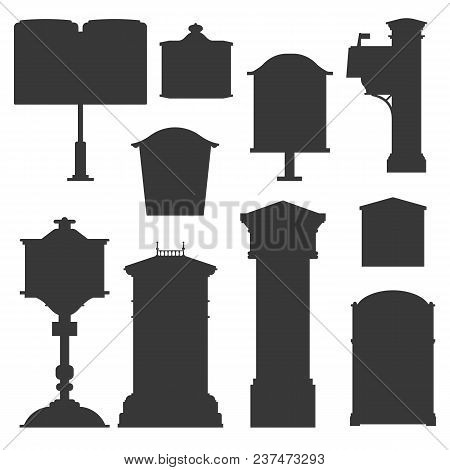 Vintage Street English Post Boxes And Mailboxes Icons. Outline Monochrome Classic Mail Letterboxes S