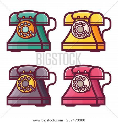 Retro Phones With Rotary Dial Icons. Vintage Land-line Telephone In Line Style. Obsolete Wired Call